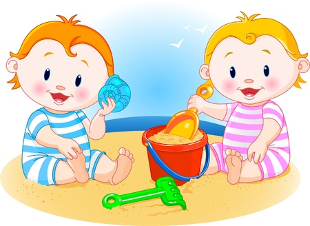 babies playing: Two little babies playing at the beach