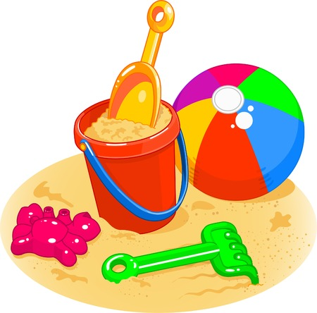 Cartoon style illustrations of a beach ball, pail, shovel and rake