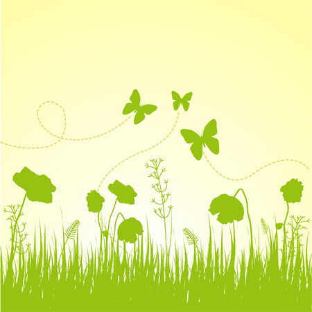 Meadow with variable grass background 向量圖像
