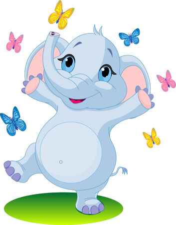 shrank: Very Cute baby elephant dancing with butterflies on the meadow