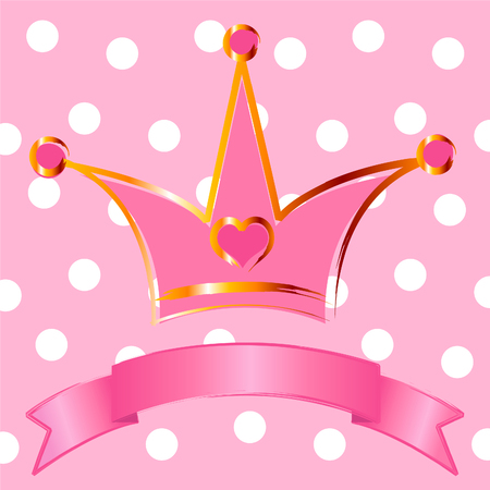 Pink background with crown for true princess Vector