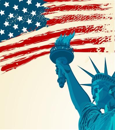 Ein Grunge-american Flag mit der Statue of liberty