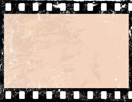 Illustration of a grunge filmstrip frame