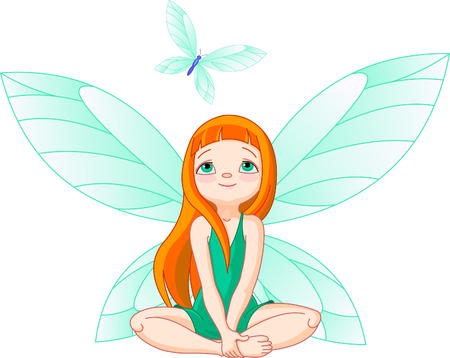 fantasy: Little cute fairy observes for flying butterfly Illustration