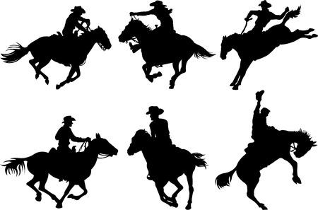 Cowboys sur chevaux silhouettes sur un fond blanc.  Banque d'images - 6870403