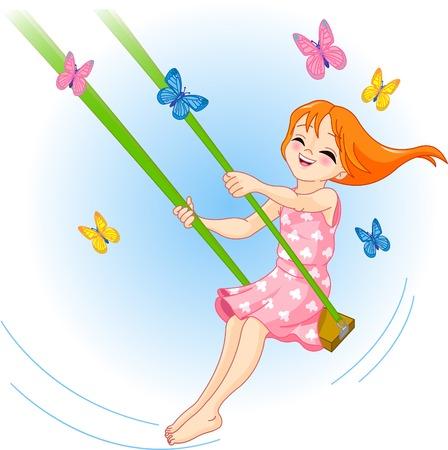 Das schöne Mädchen schüttelt auf einer Schaukel, Schmetterlinge fliegen herum