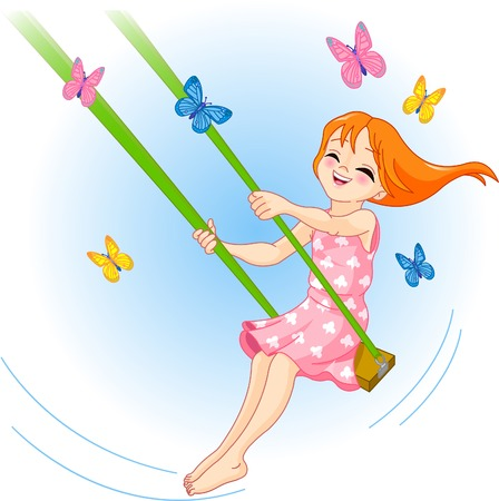 La niña bonita sacude en un columpio, mariposas vuelan alrededor