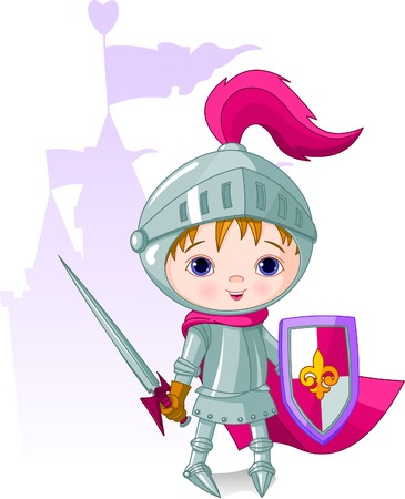 The brave knight and the castle on the back Vector