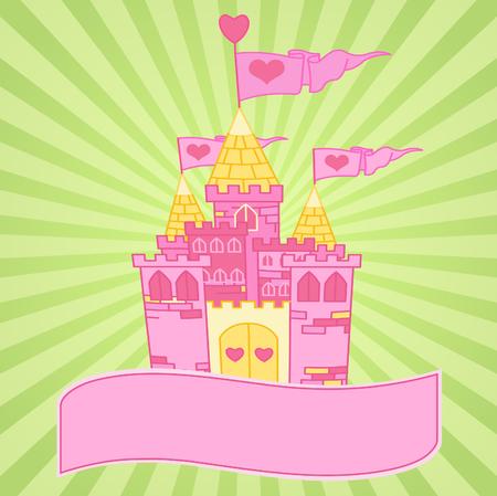 おとぎ話の王女の城の罰金の背景  イラスト・ベクター素材