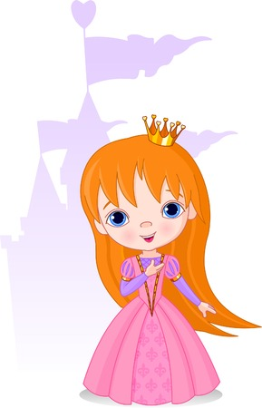 The Beautiful princess and the castle on the back Stock Vector - 6870407