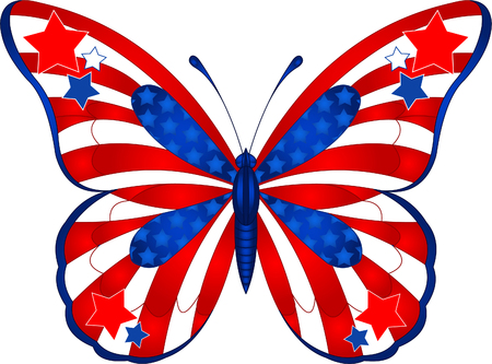 american butterflies: Beautiful butterfly in different colors representing USA