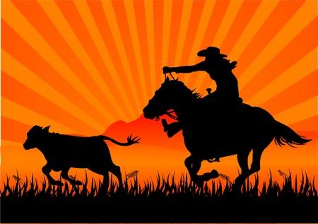 A silhouette of a cowboy roping a calf