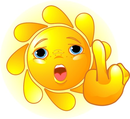 fingers: Cute Sun shows a middle finger