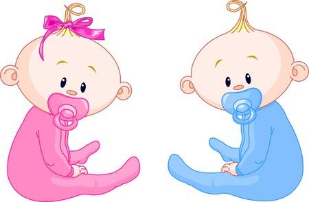 Zwei adorable Babies - das Mädchen und der junge.