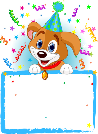 illustration for advertising: Adorable Puppy Wearing A Party Hat, Looking Over A Blank Starry Sign With Colorful Confetti Illustration