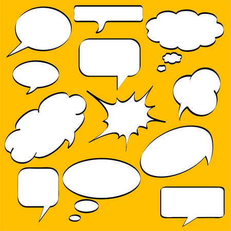 Comics style speech bubbles  balloons on yellow background Vector
