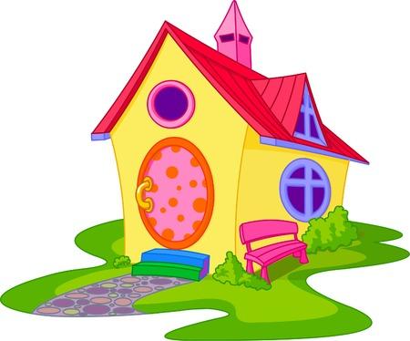 back yard: Fantas�a cute casa con patio frontal  Vectores