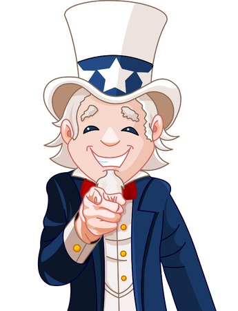 Great illustration of Uncle Sam pointing. Perfect for a USA or Fourth of July illustration. Illustration