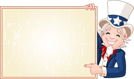 Great illustration of a cartoon Uncle Sam holding sign. Perfect for a Fourth of July illustration.