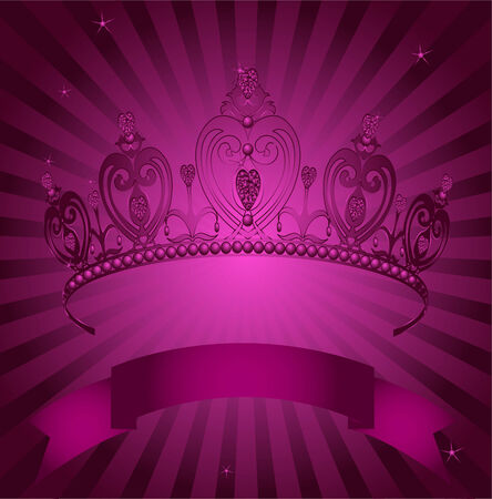 beauty queen: Beautiful shining true princess crown on radial grange background Illustration