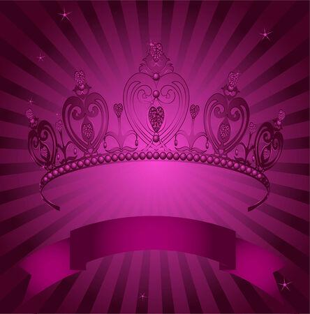 prestige: Beautiful shining true princess crown on radial grange background Illustration