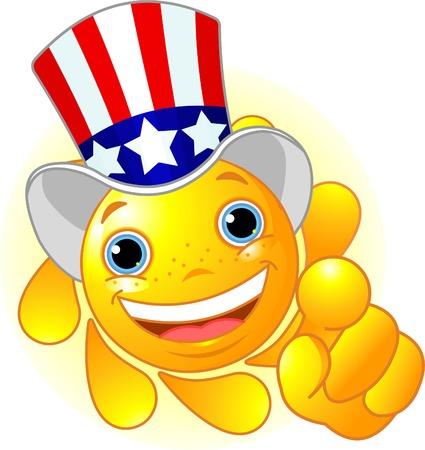Schattig en glanzend Sun Uncle Sam hoeden die naar ons  Stock Illustratie