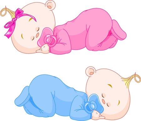 babies and children: Two charming little twins sleep in pajamas