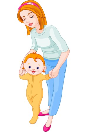 若い母を最初のステップを作る彼の赤ちゃんに役立ちます