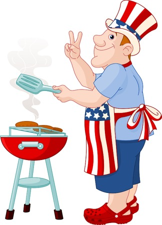 Funny Man with Uncle Sam Hat cooking A Hamburgers On A Barbecue Bbq Grill Vector