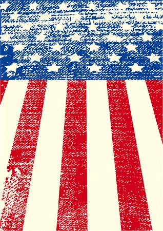 An American grunge flag for a background of a poster. Vector