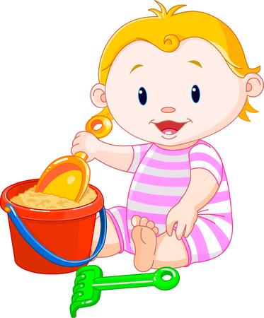 バケットと遊ぶかわいい女の子  イラスト・ベクター素材