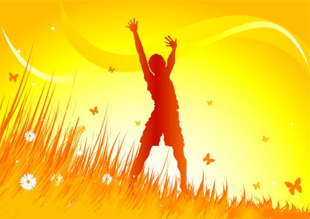 Silhouet vrouw gimping met erfgenaam armen omhoog in het gras veld.