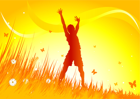 Silhouetted woman gimping with heir arms up in grassy field. Vector