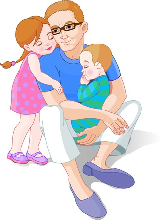 Family scene of Father with his little girl and baby