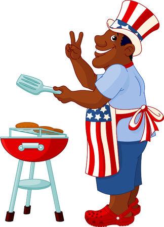 Grappige man met Uncle Sam Hat koken A Hamburgers op een barbecue Bbq Grill