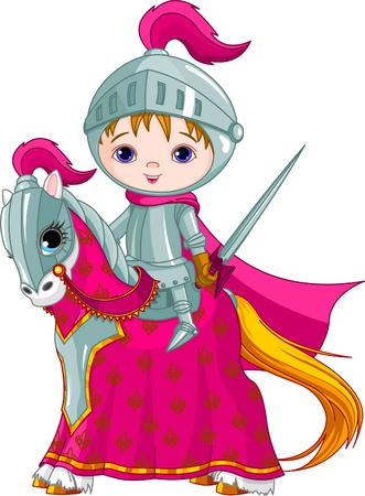 cavaliere medievale: Il coraggioso cavaliere sul suo fedele cavallo