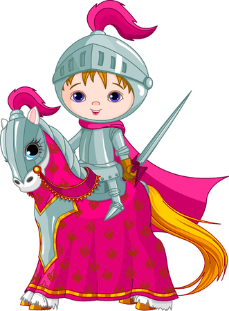 The brave knight on his faithful horse Illustration