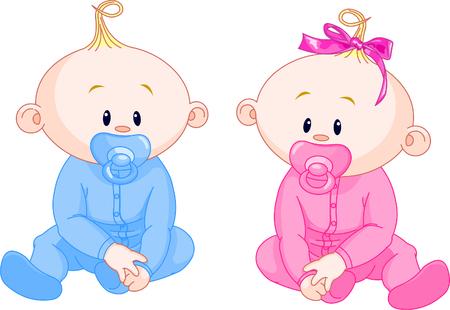 Dos bebés adorable - la chica con arco y el niño.  Ilustración de vector