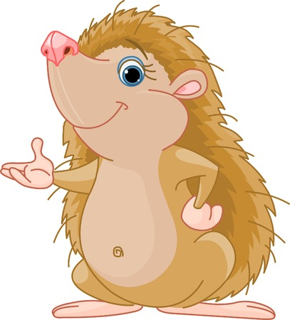 h�risson cartoon: Cute Hedgehog peu pr�sentant  Illustration
