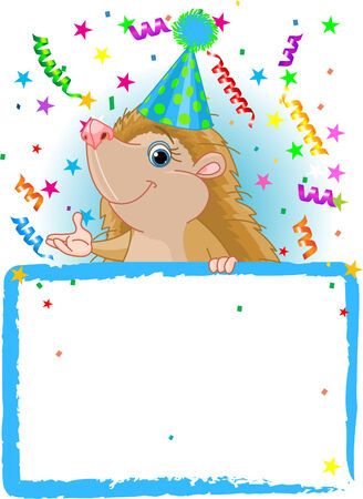 Adorable Baby Hedgehog Wearing A Party Hat, Looking Over A Blank Starry Sign With Colorful Confetti Vector