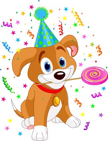 Cute Welpe mit Partyhut Holding lollipop Standard-Bild - 6951100