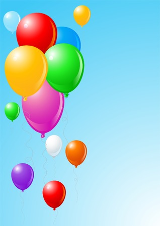 Celebration blue background with flying balloons  Vector