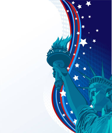is new: Holiday background with the statue of liberty