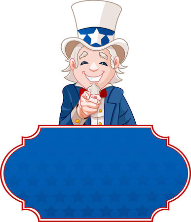 Sign with Uncle Sam pointing. Perfect for a USA or Fourth of July illustration. 向量圖像