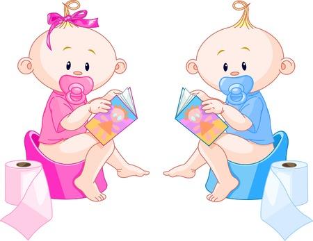 urinare: Little neonati ? ragazza e ragazzo sono seduti su vasini con libri aperti