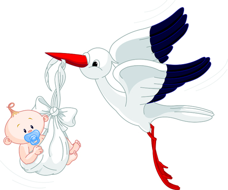 A cartoon illustration of a stork delivering a newborn baby boy Stock Vector - 7021528