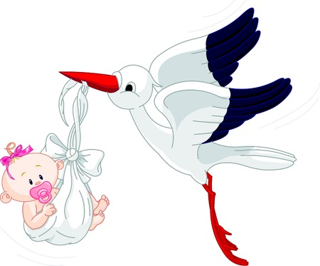 tales: A cartoon illustration of a stork delivering a newborn baby girl