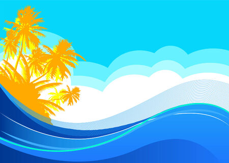 beach sunset: Summer themed beach illustration background with place for text Illustration