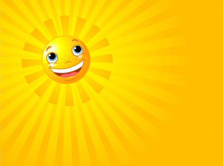 A background illustration featuring a happy smiling sun with rays of light beaming Vector