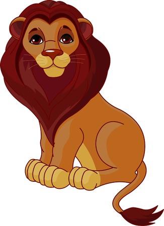 Fully editable  illustration of a sitting cartoon Lion